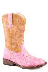 Roper Girls Pink Diamond Pattern Boot