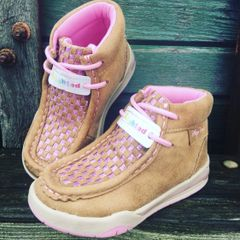 Girls Pink Checkerboard Mocs-Lighted