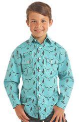 Longhorn/Cactus Print Snap Shirt