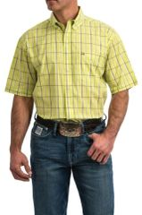Cinch ArenaFlex Lime Plaid S/S