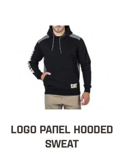 CAT Work Wear Logo Panel Hoodie Black