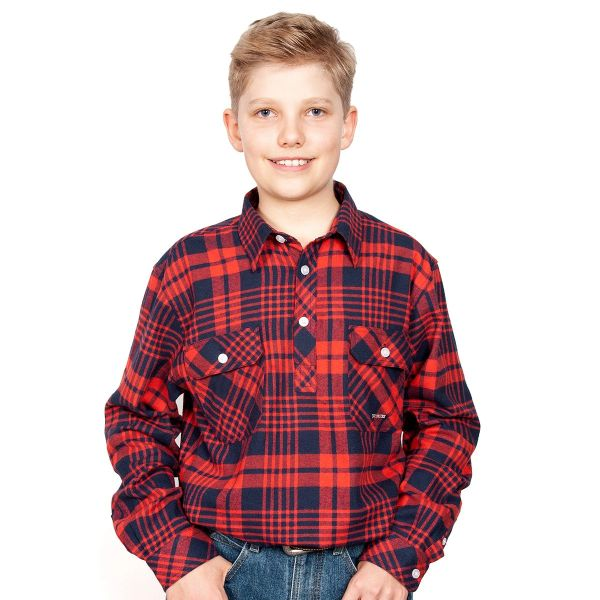 Boys - Lachlan Flannel - 1/2 Button - Red/Navy