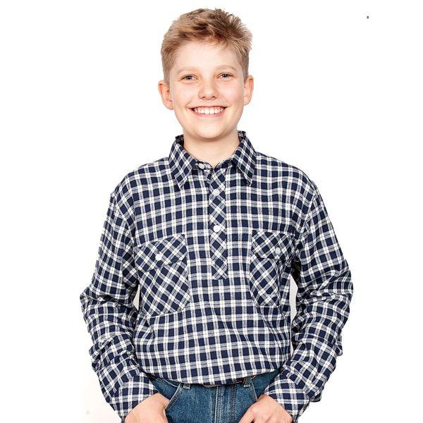 Boys - Lachlan Flannel - 1/2 Button - Royal/White