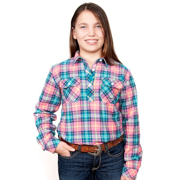 Girl's - Kenzie Flannel - 1/2 Button - Pink/Turquoise