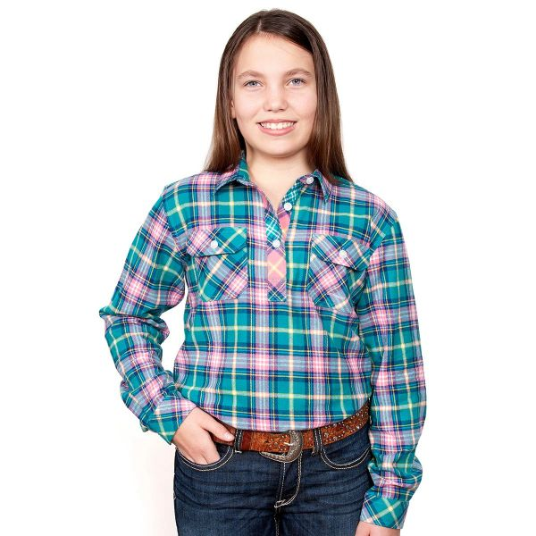 Girl's - Kenzie Flannel - 1/2 Button - Turquoise/Pink