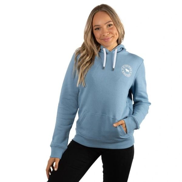 RINGERS WESTERN Signature Bull Womens Pullover Hoodie - Faded Denim with White Print