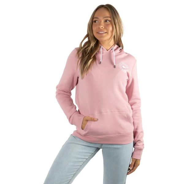 RINGERS WESTERN Signature Bull Womens Pullover Hoodie - Rosey Pink with White Print