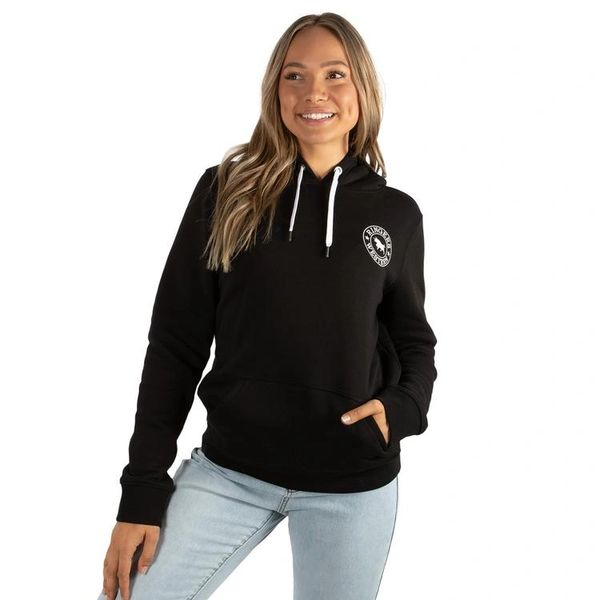 RINGERS WESTERN Signature Bull Womens Pullover Hoodie - Black with White Print