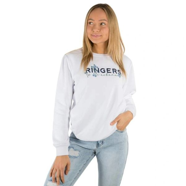 RINGERS WESTERN Bloome Womens Crew Neck Sweat - White
