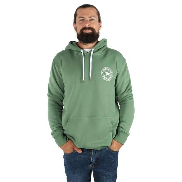 RINGERS WESTERN Signature Bull Mens Pullover Hoodie - Cactus Green with White Print