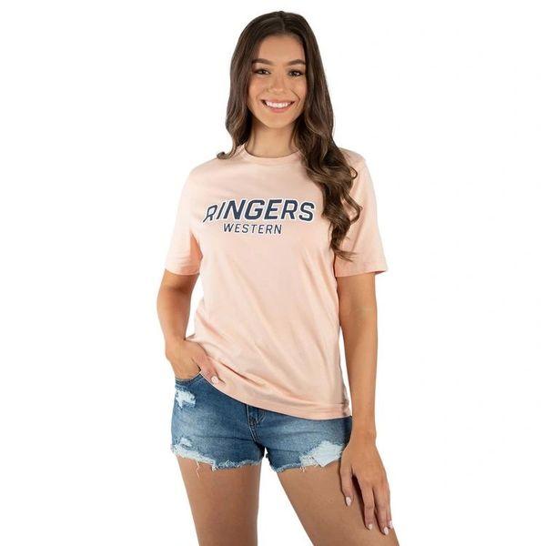 RINGERS WESTERN - Yale Womens Flock Print Loose Fit T-Shirt - Peach / Ink