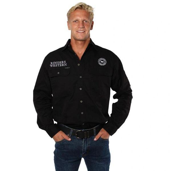 Ringers Western Mens Hawkeye Full Button Work Shirt Black