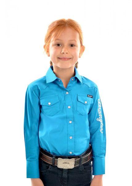 Wrangler Girls Logo L/S Shirt Aqua