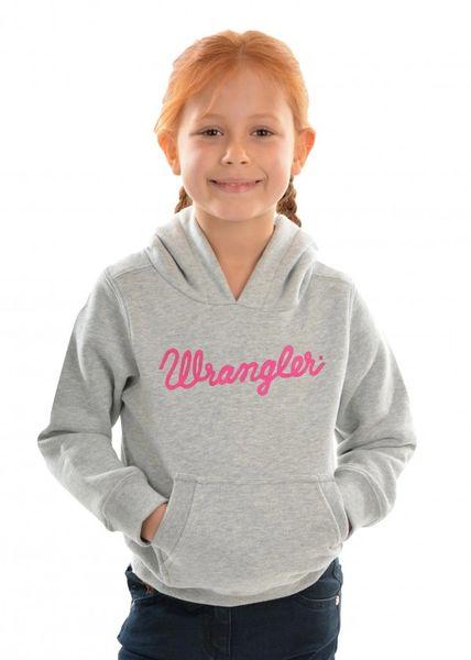 Wrangler Girls Logo Hoodie Grey Marle/ Pink