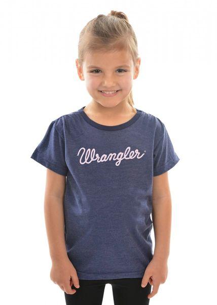 Wrangler S/S Girls Logo Tee Navy Marle/Pink