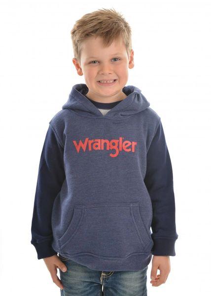 Wrangler Boys Logo Hoodie Navy Marle