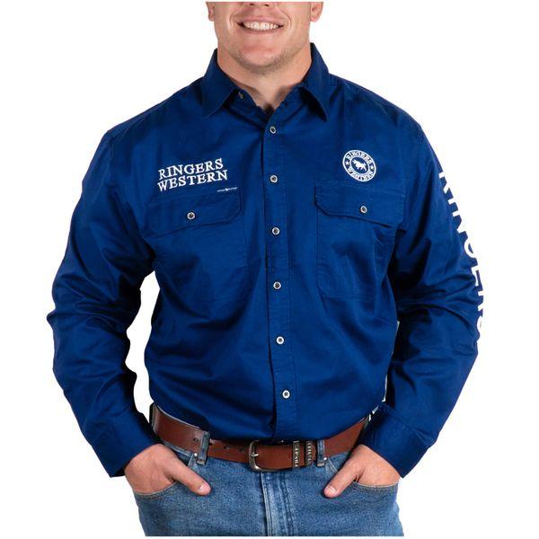 Ringers Western Hawkeye Mens Full Button L/S Work Shirt NAVY/WHITE