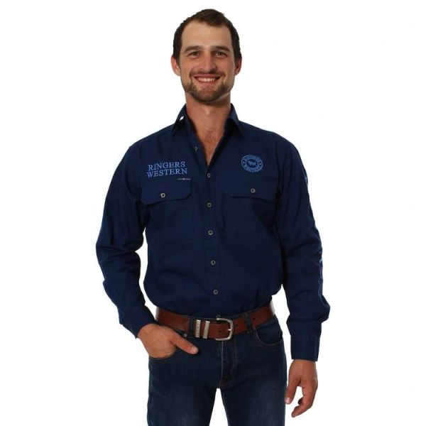 The Hawkeye Mens Full Button Embroidered Work Shirt Navy/Blue