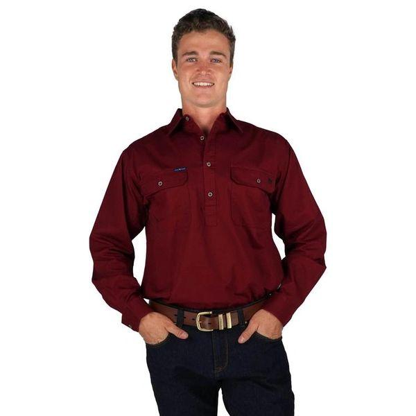 The King River Mens Half Button Work Shirt Burgundy