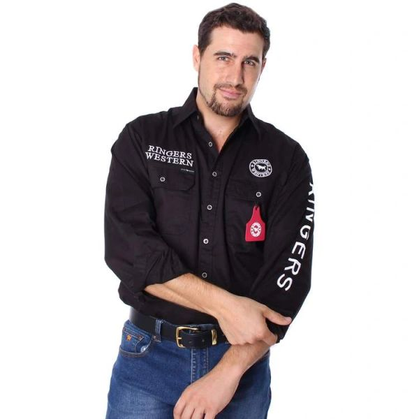The Hawkeye Mens Full Button Embroidered Work Shirt Black