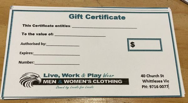 Gift Certificate Live, Work Play Wear $200