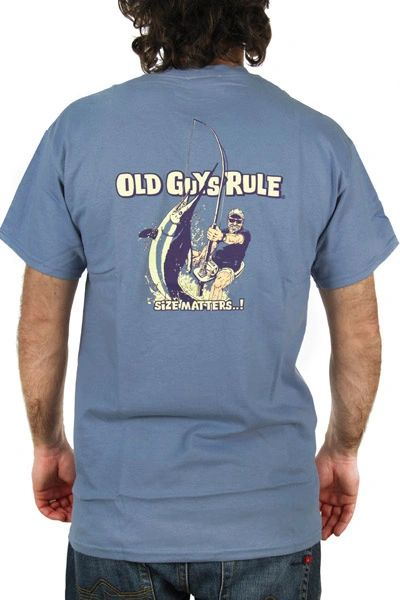 Old Guys Rule Size Matters Stone Blue Tee
