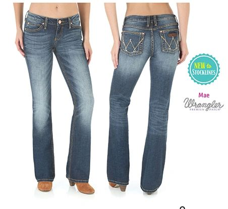 Wrangler Womens Pemium Patch Mid Rise Mae Jeans