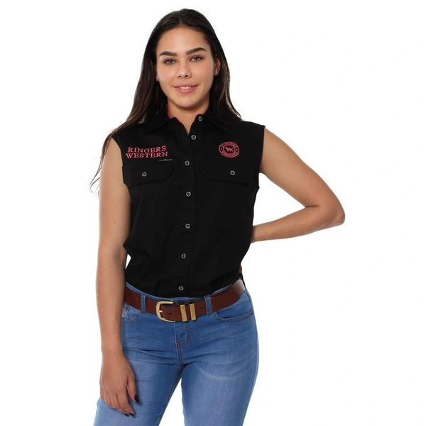Signature Jillaroo Womens Sleeveless Work Shirt - Black with melon Embroidery