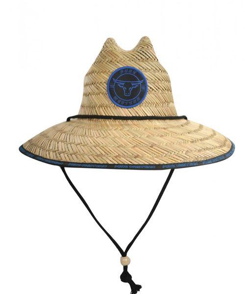 Pure Western Straw Hat Blue Logo