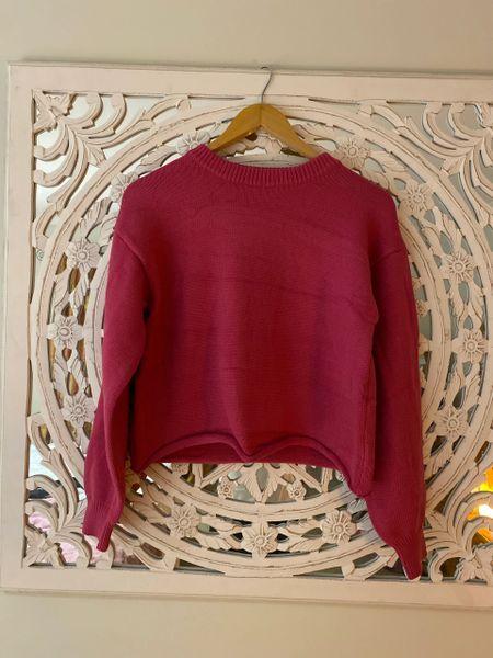 Vale Dark Pink Cropped Knit