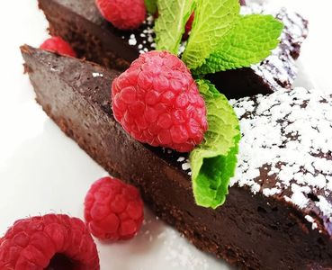 gluten free chocolate cake with raspberry