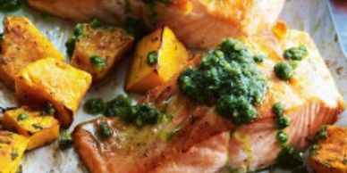Pesto salmon with roasted butternut squash