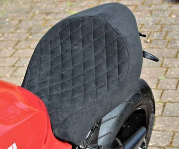 Alcantara Custom seat covering for Ducati Monster 1200S with quilted diamond stitching