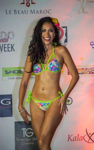 G2012 - Bikini - Tropical Print bottom and Strappy Key Lime Green Top