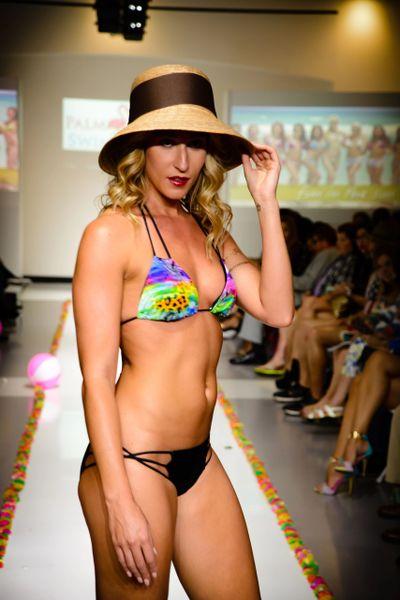 G2042 - Bikini - Peacock Triangle Multicolor Top - Spaghetti Strappy Bottom