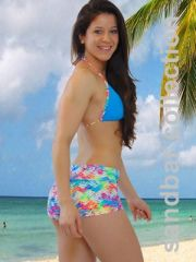 G2011 - Shorts and Top - Tropical Print & Ocean Blue