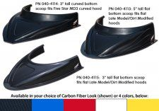 """Five Star MD3 Hood Scoop - 3"""" Tall - Curved Bottom - Red"""