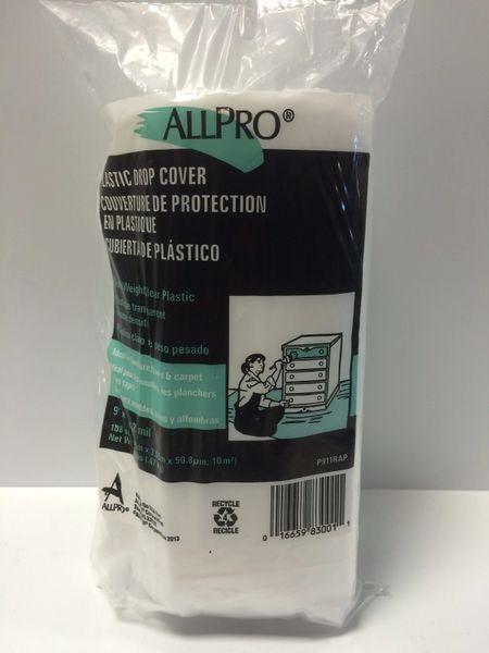 ALLPRO PLASTIC DROP CLOTH COVER 9'X12' 2MIL