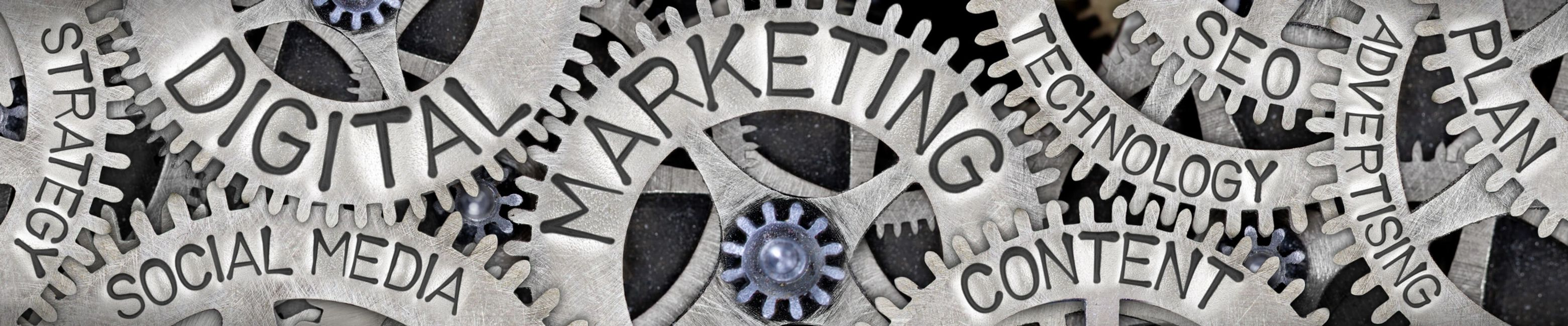 image of gears with digital marketing, content, seo, social media written on them.