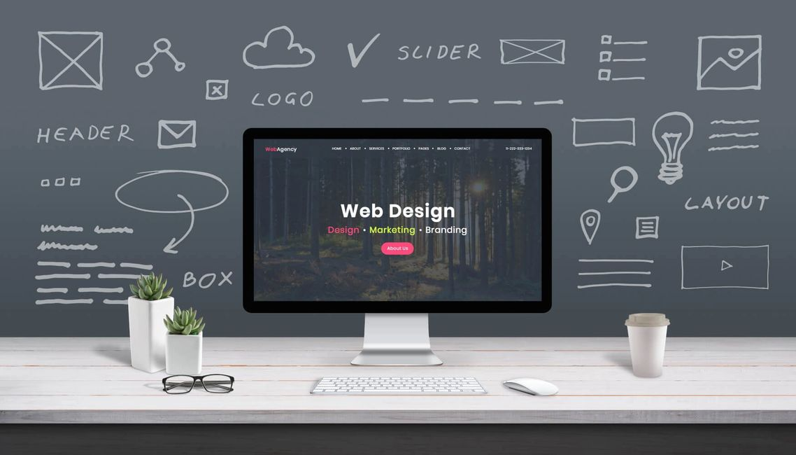 graphic for web design with a computer on a desk.
