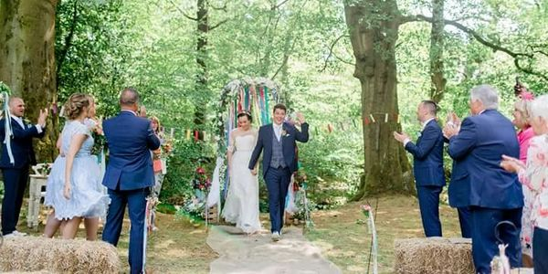 Colourful Woodland festival styled wedding led by celebrant Amanda Leeson
