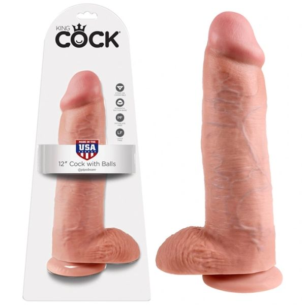 "King Cock 12"" Dildo with Balls"
