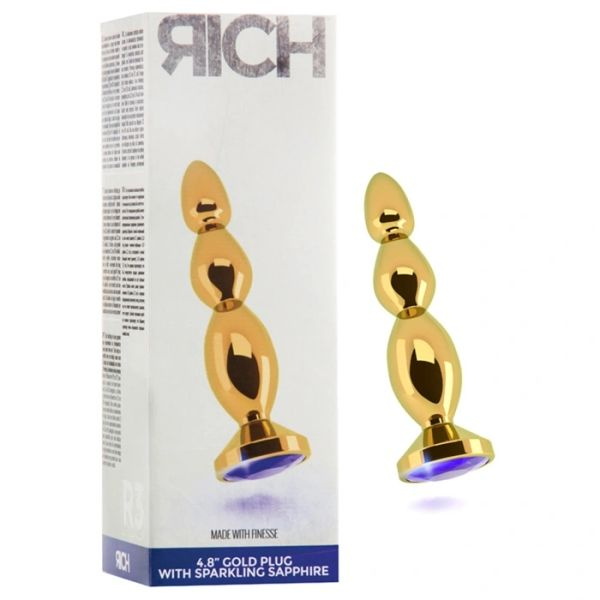 "Rich 4.8"" Gold Plug with Purple Sapphire"