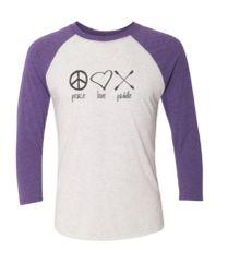 """Peace Love Paddle"" Baseball Shirt"