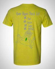 River Hippie Check List Shirt, Short Sleeve Yellow
