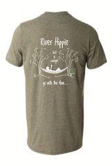 River Hippie Swingin Shirt, Short Sleeve Heather Military Green