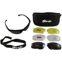 Birdz Eyewear HawkKit1 Interchangeable Glasses (Black Frame/Clear, Smoke, Mirror, Yellow Lens)