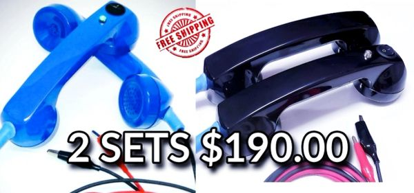 2 sets of Continuity Test Phones- Black & Blue