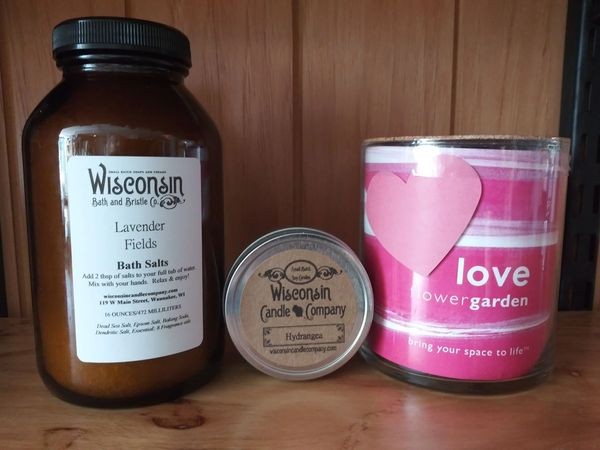 Love Flower Garden + Lavender Bath Salts + Hydrangea Soy Candle