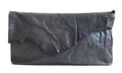 Charcoal Lambskin Clutch - SOLD